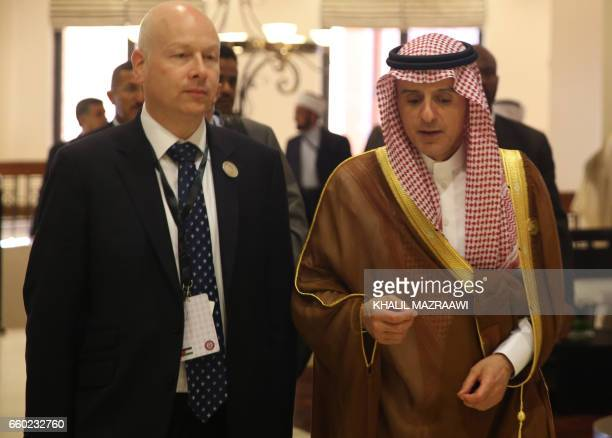 Saudi Arabia's Foreign Minister Adel alJubeir speaks with Jason Greenblatt the US president's assistant and special representative for international...