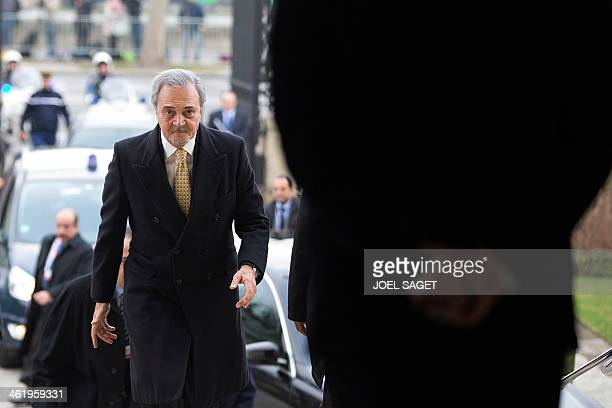 Saudi Arabia's Foreign Minister Prince Saud alFaisal arrives at the Quai d'Orsay the French Foreign ministry in Paris on January 12 to attend the...