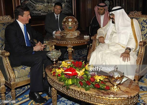 Saudi Arabia's King Abdullah bin Abdulaziz alSaud meets British Prime Minister David Cameron in Riyadh January 13 2012 Cameron held talks with King...