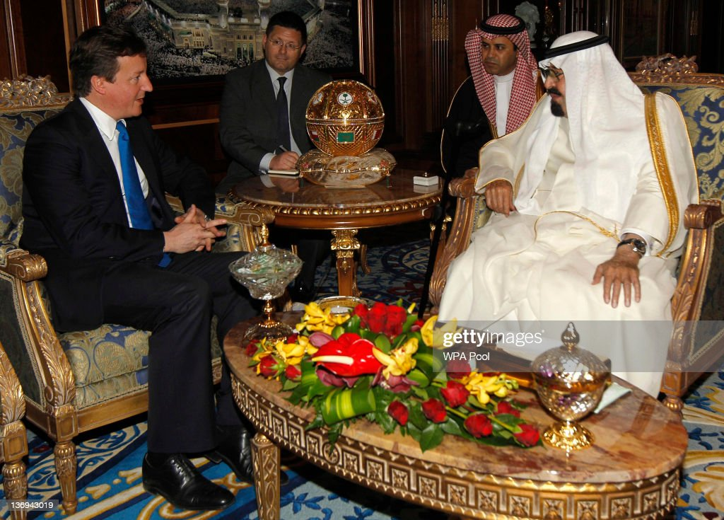Saudi Arabia's King Abdullah (R) meets British Prime Minister <a gi-track='captionPersonalityLinkClicked' href=/galleries/search?phrase=David+Cameron+-+Politician&family=editorial&specificpeople=227076 ng-click='$event.stopPropagation()'>David Cameron</a> on January 13, 2012 in Riyadh, Saudi Arabia. <a gi-track='captionPersonalityLinkClicked' href=/galleries/search?phrase=David+Cameron+-+Politician&family=editorial&specificpeople=227076 ng-click='$event.stopPropagation()'>David Cameron</a> met King Abdullah today on his first visit to the country since taking office in 2010 and carried out talks with the King involving the global economy, energy security and ways to combat global terrorism.