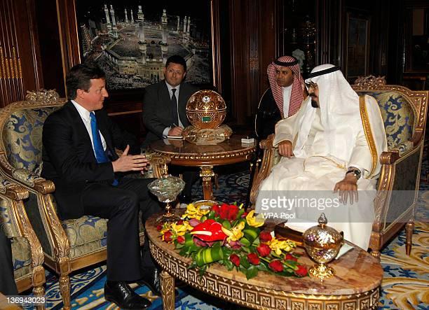 Saudi Arabia's King Abdullah meets British Prime Minister David Cameron on January 13 2012 in Riyadh Saudi Arabia David Cameron met King Abdullah...