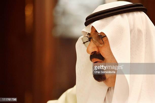 Saudi Arabia's King Abdullah receives US Defense Secretary Robert Gates at the king's Riyadh Palace April 6 2011 in Riyadh Saudi Arabia Gates is...