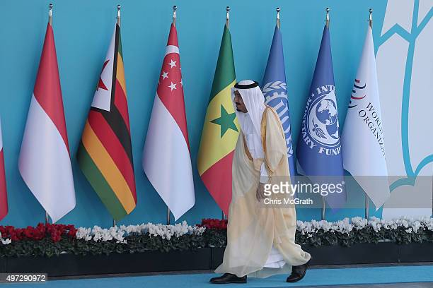 Saudi Arabia's King Salman bin Abdulaziz arrives during the official welcome ceremony on day one of the G20 Turkey Leaders Summit on November 15 2015...