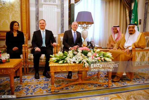 Saudi Arabia's King Salman welcomes US Defence Secretary James Mattis sitting next to White House Deputy National Security Advisor Dina Powell and US...