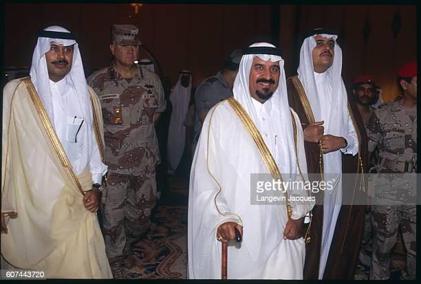 Saudi Arabia's minister of defense Prince Sultan bin Abdul Aziz and Prince Mohammad bin Fahd meet with General Norman Schwarzkopf the commander in...