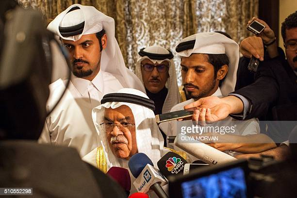 Saudi Arabia's minister of Oil and Mineral Resources Ali alNaimi speaks to the press ahead of a meeting on February 16 2016 in the Qatari capital...