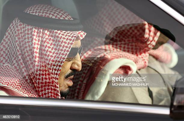 Saudi Arabia's newly appointed King Salman arrives for the funeral of his halfbrother late King Abdullah at the AlOd cemetery in the centre of Riyadh...