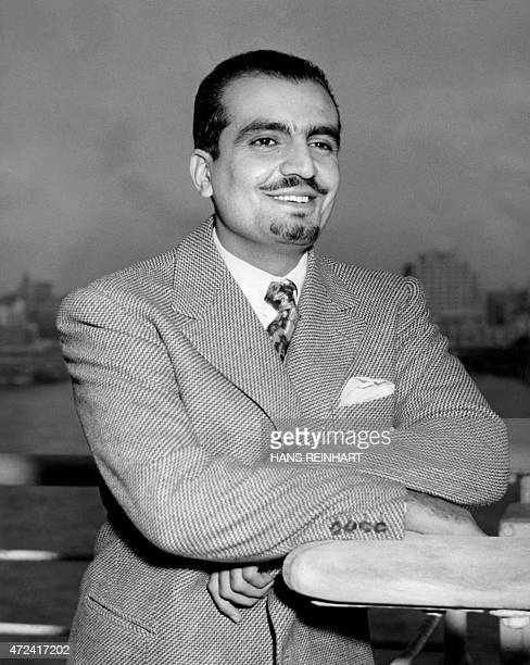 Saudi Arabia's Prince Mishaal ibn Abdul Aziz 26yearold son of King Ibn Saud of Saudi Arabia smilesaboard the liner ueen Elizabeth on his arrival in...