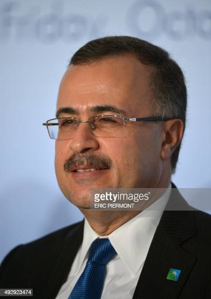 Saudi Aramco CEO Amin Nasser takes part in a press conference following a meeting of the Oil and Gas Climate Initiative in Paris on October 16 2015...