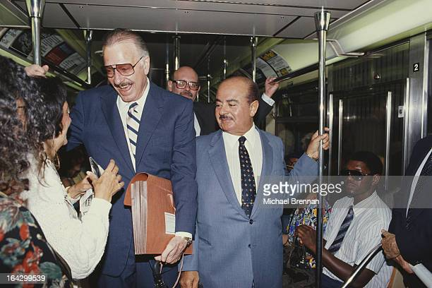 Saudi arms dealer Adnan Khashoggi rides the subway to the Federal Courthouse in New York City 3rd July 1990 He and Imelda Marcos are being charged...
