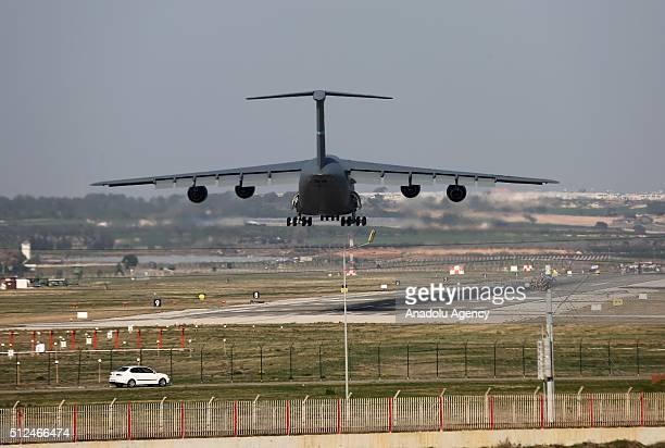 Saudi cargo plane is seen in the sky before it lands at Incirlik base in Adana southern Turkey on February 26 2016 Four Saudi fighter jets which will...