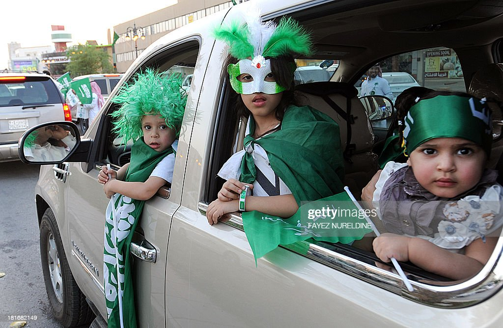 Saudi children take part in celebrations marking the 83rd Saudi Arabian National Day in the desert kingdom's capital Riyadh, on September 23, 2013.