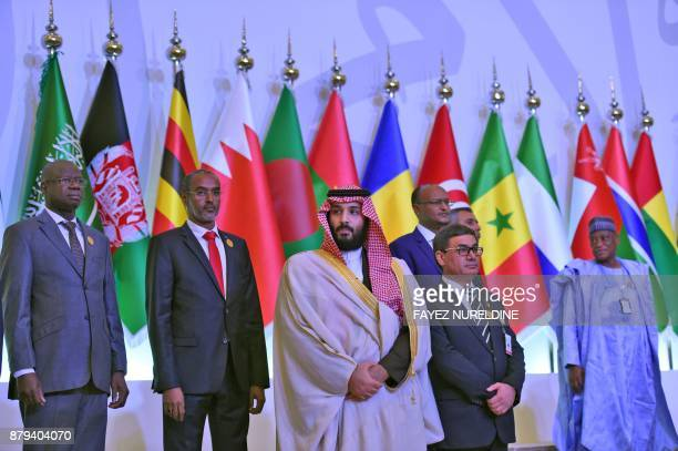 Saudi Crown Prince and Defence Minister Mohammed bin Salman poses for a group picture with other defence ministers and officials of the 41member...