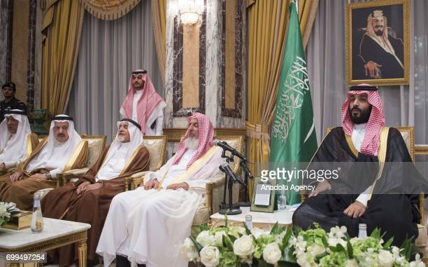 Saudi Crown Prince Mohammad bin Salman alSaud attends a ceremony held for pleding Saudi local emirs and other notable people's allegiance to him as...
