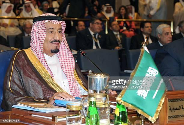Saudi Crown Prince Salman bin Abdulaziz alSaud attends the 25th Arab League summit at Bayan palace in Kuwait City on March 25 2014 The Syrian...