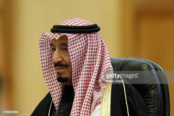 Saudi Crown Prince Salman bin Abdulaziz meets Chinese President Xi Jinping after a welcoming ceremony at the Great Hall of the People on March 13...