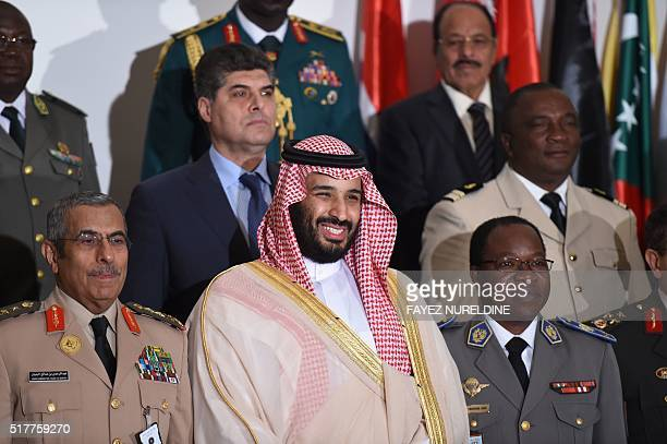 Saudi Defence Minister and Deputy Crown Prince Mohammed bin Salman poses with the chiefs of staff of the Saudiled Islamic Military Counter Terrorism...