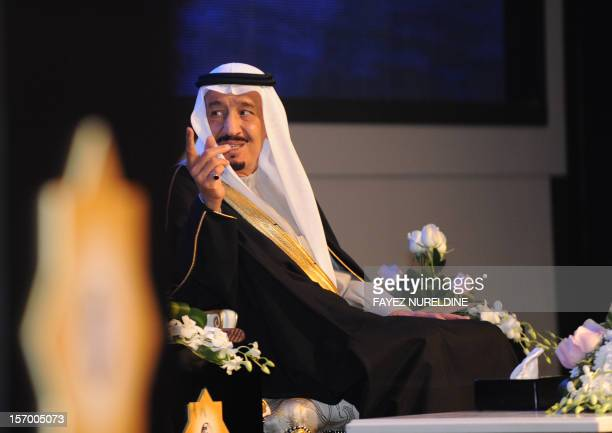 Saudi Defence Minister Prince Salman bin Abdul Aziz gestures as he attends the King Faisal International prize awards ceremony held in Riyadh on...