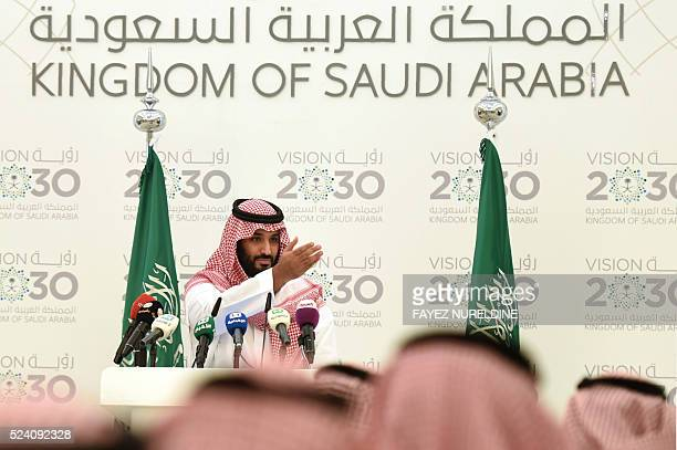 Saudi Defense Minister and Deputy Crown Prince Mohammed bin Salman gives a press conference in Riyadh on April 25 2016 The key figure behind the...
