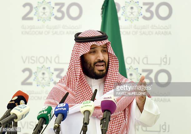 Saudi Defense Minister and Deputy Crown Prince Mohammed bin Salman speaks during a press conference in Riyadh on April 25 2016 The key figure behind...