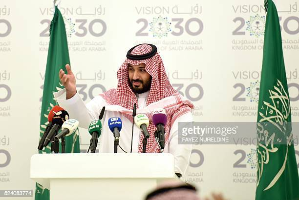 Saudi Defense Minister and Deputy Crown Prince Mohammed bin Salman gestures during a press conference in Riyadh on April 25 2016 The key figure...