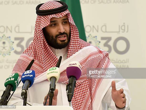 Saudi Defense Minister and Deputy Crown Prince Mohammed bin Salman answers questions during a press conference in Riyadh on April 25 2016 The key...