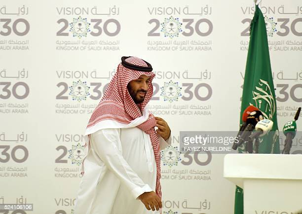 Saudi Defense Minister and Deputy Crown Prince Mohammed bin Salman arrives for a press conference in Riyadh on April 25 2016 The key figure behind...