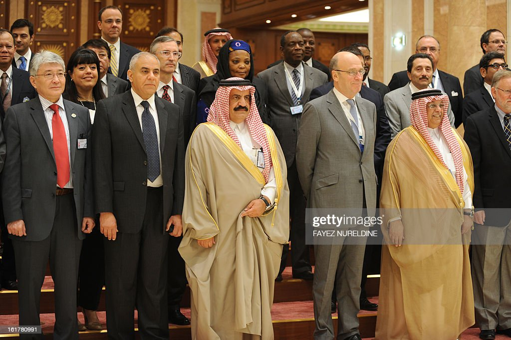 Saudi Deputy to the Minister of Multilateral Relations Turki bin Saud al-Kabir (C) poses for a group pictures with participants in the International Conference on United Nation's Collaboration with Counter-Terrorism Centers held, on February 16, 2013 in Riyadh.