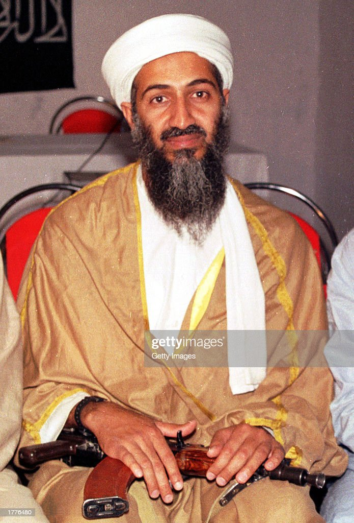 Saudi dissident and suspected terrorist leader Osama bin Laden is seen in this undated file photo taken somewhere in Afghanistan. U.S. Secretary of State Colin Powell told the Senate Budget Committee February 11, 2003 that he had read a transcript from bin Laden or someone believed to be him, speaking about his partnership with Iraq from an Al Jazeera tape. The Arab satellite station aired a statement allegedly from Osama bin Laden.
