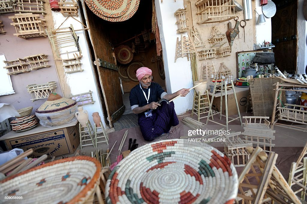 Saudi exhibitors display their products during the Janadriyah festival of Heritage and Culture held in the Saudi village of Al-Thamama, 50 kilometres north of the capital Riyadh, on February 8, 2016. / AFP / FAYEZ NURELDINE