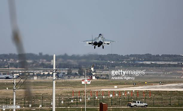 Saudi fighter jet which will support the coalition forces as part of the fight against Daesh is seen in the sky before they land at Incirlik base in...