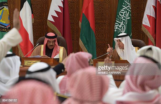 Saudi Foreign Minister Adel alJubeir give a press conference with Gulf Cooperation Council SecretaryGeneral Abdullatif bin Rashid AlZayani of Bahrain...