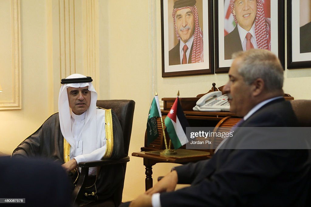 Saudi Foreign minister Adel AlJubeir holds a press conference with his Jordanian counterpart Nasser Judeh upon their meeting at the foreign ministry...