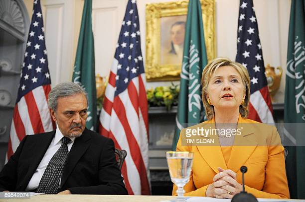 Saudi Foreign Minister Prince Saud alFaisal and US Secretary of State Hillary Clinton speak to the press at the State Department on July 31 2009 in...