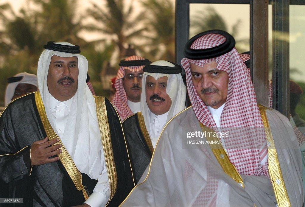 Saudi Foreign Minister Prince Saud alFaisal receives his Qatari counterpart Sheikh Hamad bin Jassem bin Jabr alThani and Abdulrahman alAttiyah...