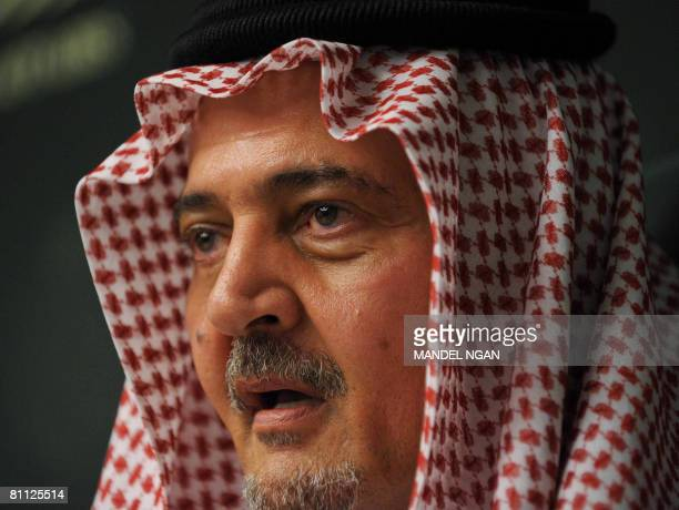 Saudi Foreign Minister Prince Saud alFaisal speaks during a press conference at the oil ministry on May 16 2008 in Riyadh Saudi Oil Minister Ali...