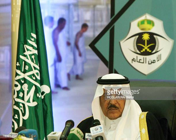 Saudi Interior Minister and the Head of the Supreme Hajj Commission Prince Nayef bin Abdul Aziz alSaud listens to a reporter's question during the...