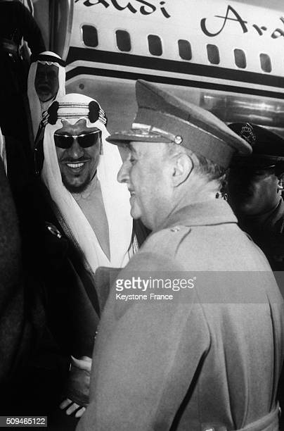 Saudi King Ibn Saud Arrives In Madrid After Surgery In New York And He Is Welcomed At the Airport By General Francisco Franco in Madrid Spain on...