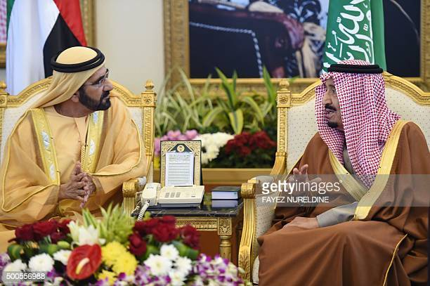 Saudi King Salman bin Abdulaziz meets with the United Arab Emirates' vice president and Ruler of Dubai Sheikh Mohammed bin Rashid alMaktoum upon the...