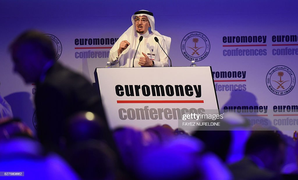 Saudi Labour Minister Mufrej al-Haqbani addresses the audience during the Euromoney Saudi Arabia conference in the capital Riyadh on May 3, 2016. The two-day conference focuses on Saudi Arabia's economy and the so called economic plan 'Vision 2030'. / AFP / FAYEZ