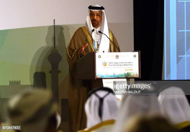 Saudi Minister of Energy Industrial and Mineral Resources Khaled alFalih speaks during the 3rd GCC Petroleum Media Forum on April 20 2017 in Abu...