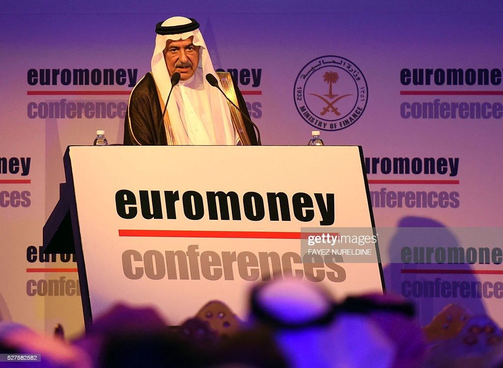 Saudi Minister of Finance Ibrahim al-Assaf addresses the audiance during the Euromoney Saudi Arabia conference in the capital Riyadh on May 3, 2016. The two-day conference focuses on Saudi Arabia's economy and the so called economic plan 'Vision 2030'. / AFP / FAYEZ