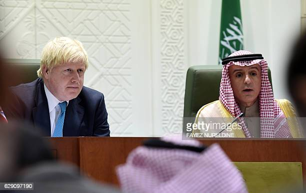 Saudi Minister of Foreign Affairs Adel alJubeir and British Secretray of State for Foreign and Commonwealth Affairs Boris Johnson give a joint press...