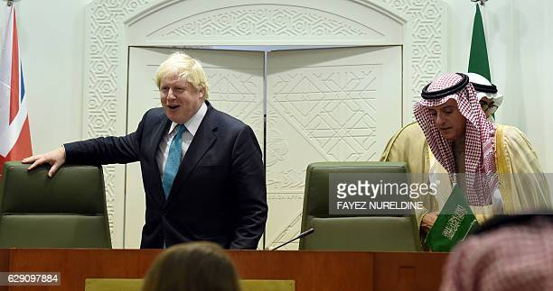 Saudi Minister of Foreign Affairs Adel alJubeir and British Secretray of State for Foreign and Commonwealth Affairs Boris Johnson arrive for a joint...
