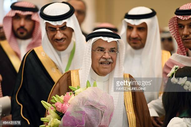 Saudi Minister of Oil and Mineral Resources Ali alNaimi smiles during the opening ceremony of the first Saudi Mining and Minerals exhibition and...
