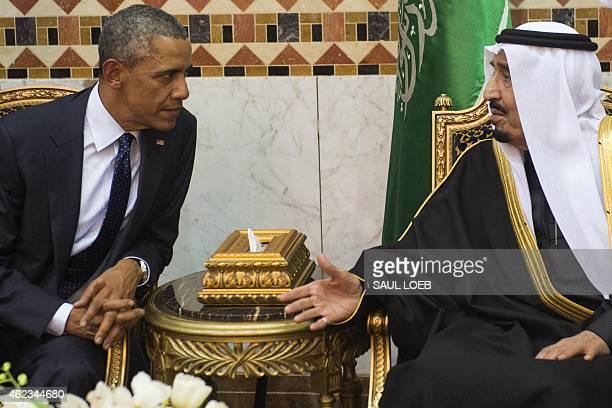 Saudi new King Salman meets with US President Barack Obama at the Erga Palace in the capital Riyadh on January 27 2015 Obama is in Saudi Arabia to...