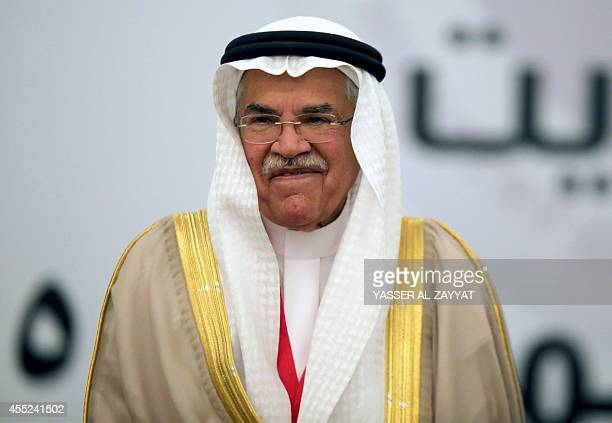 Saudi oil minister Ali AlNaimi attends the Gulf Cooperation Council oil ministers meeting in Kuwait city on September 11 2014 AlNaimi played down the...