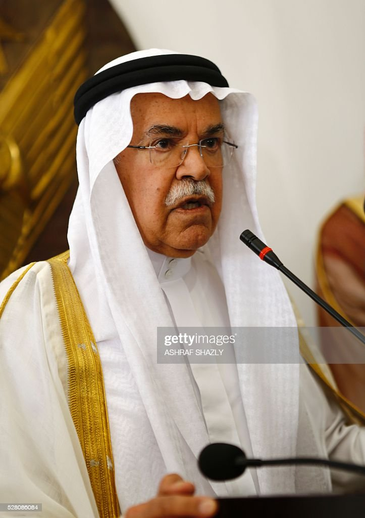 Saudi Oil Minister Ali al-Naimi speaks during a press conference following a meeting with Sudanese Oil Minister in Khartoum on May 4, 2016. Al-Naimi arrived in Khartoum for a one-day visit aimed at stepping up Riyadh's investments in its new east African ally Sudan. Sudan has moved closer to Saudi Arabia in recent months after severing relations with Shiite Iran, in a bid to attract investments to boost its dilapidated economy. SHAZLY