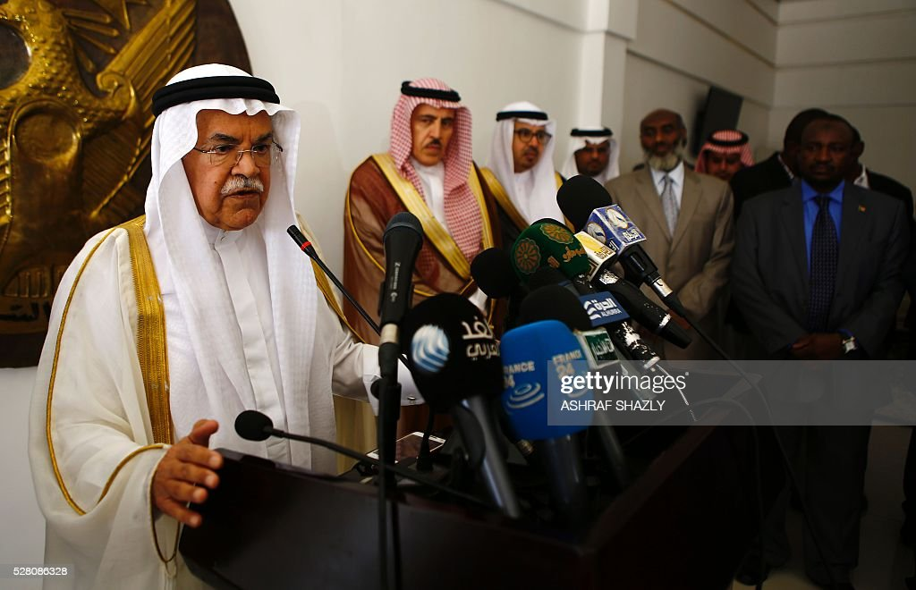 Saudi Oil Minister Ali al-Naimi (L) speaks during a press conference following a meeting with Sudanese Oil Minister in Khartoum on May 4, 2016. Al-Naimi arrived in Khartoum for a one-day visit aimed at stepping up Riyadh's investments in its new east African ally Sudan. Sudan has moved closer to Saudi Arabia in recent months after severing relations with Shiite Iran, in a bid to attract investments to boost its dilapidated economy. SHAZLY