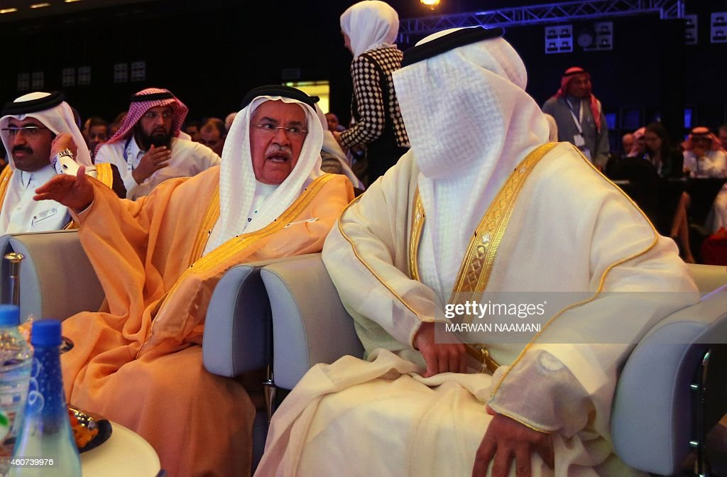 Saudi Oil Minister Ali al-Naimi (C) speaks with United Arab Emirates Energy Minister Suhail bin Mohamed al-Mazroui (R) during the opening session of the 10th Arab Energy Conference in Abu Dhabi, on December 21, 2014. 'Irresponsible' levels of output by producers from outside the OPEC oil cartel is among the main causes of the slump in prices, the United Arab Emirates energy minister told the energy forum.